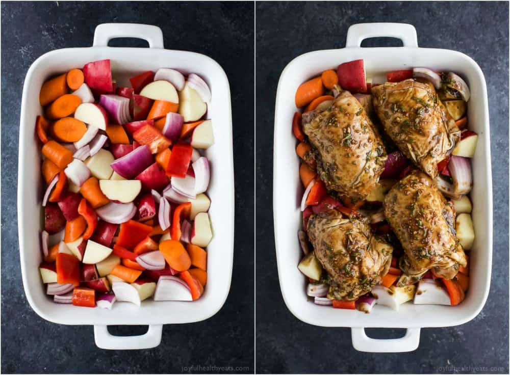 Easy One Pan Balsamic Chicken with Roasted Vegetables - a healthy paleo & gluten free recipe your family will devour! Tender juicy chicken covered in a sweet balsamic glaze has this one pan chicken bursting with flavor!