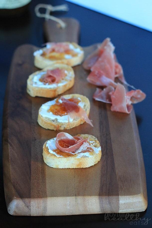 Prosciutto Fig Goat Cheese Crostini 1