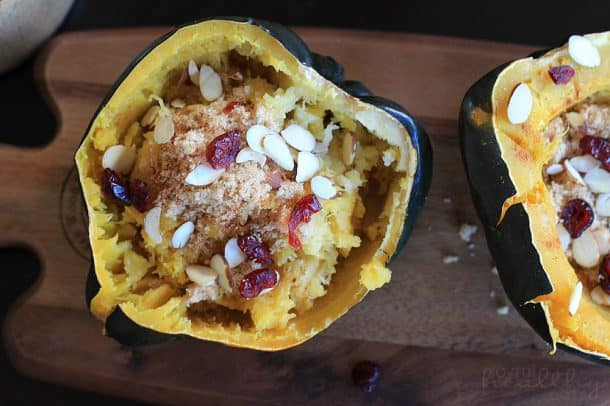 Image of Roasted Acorn Squash with cranberries and almonds