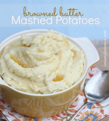 Title Image for Browned Butter Mashed Potatoes and a casserole dish of mashed potatoes