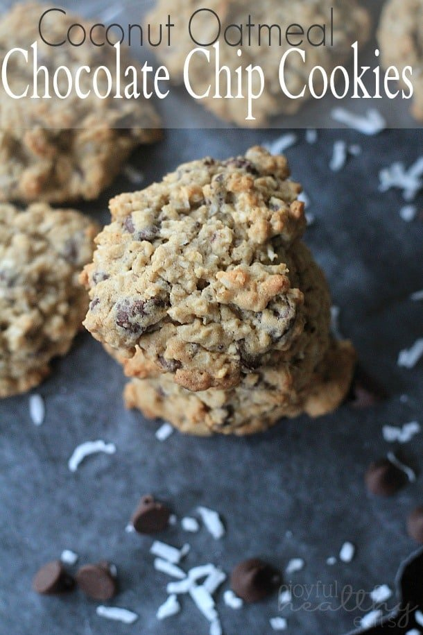 Coconut Oatmeal Chocolate Chip Cookies #coconut #dessert #cookierecipes #chocolatechip #oatmeal