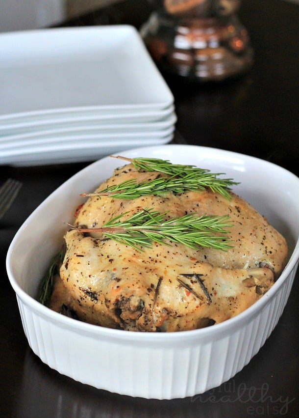Garlic Herb Crock Pot Chicken in a baking dish
