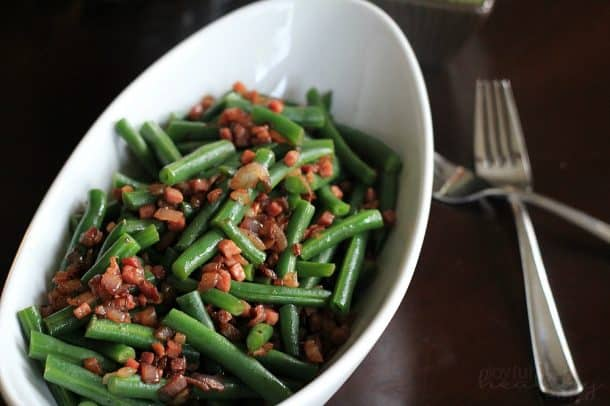 Green Beans with pancetta & red onion 3