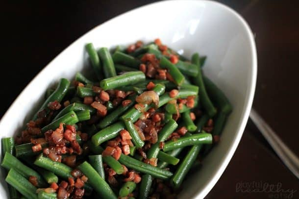 Green Beans with pancetta & red onion 4
