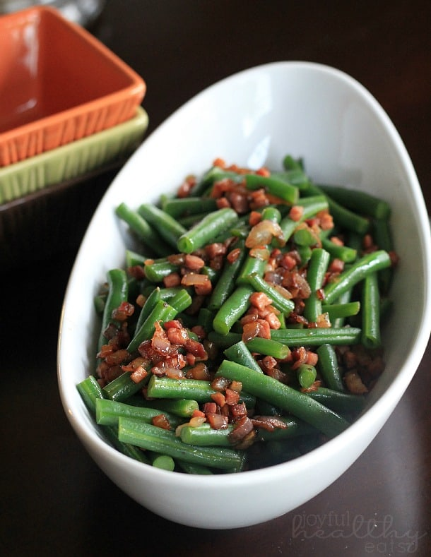 Green Beans with pancetta & red onion in a serving bowl