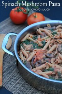Image of Spinach & Mushroom Pasta with Creamy Tomato Sauce