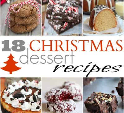 Title Image for 18 Christmas Dessert Recipes with six examples of christmas desserts