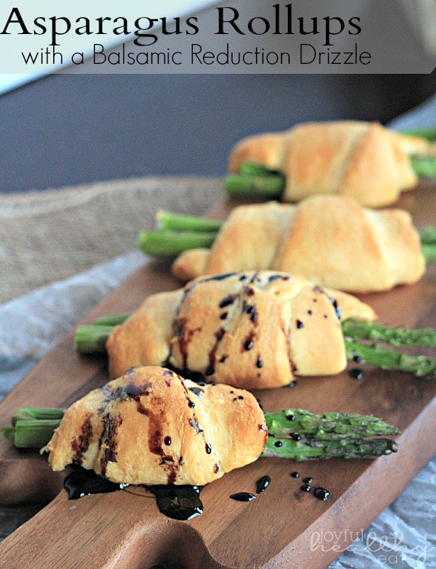 Asparagus Rollups with Balsamic Reduction #appetizer #asparagus #balsamicreduction #crescentrolls