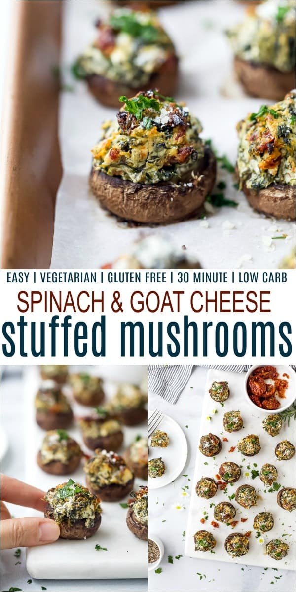 pinterest image for spinach stuffed mushrooms