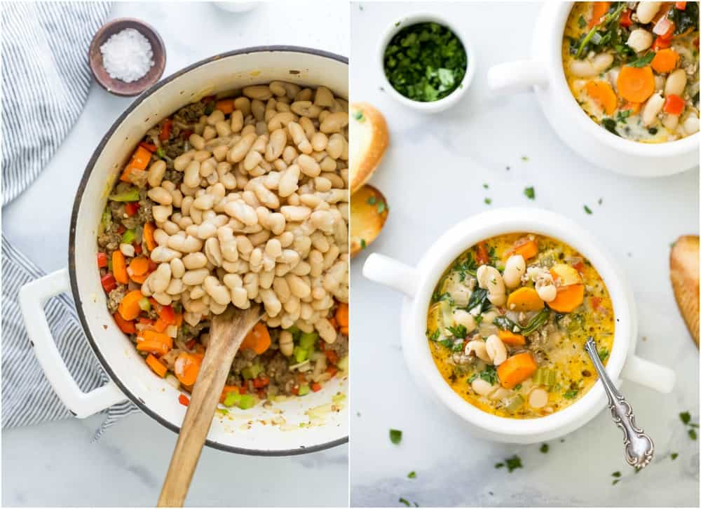 process photos of how to make creamy tuscan white bean soup