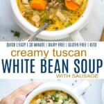 pinterest image for epic creamy tuscan white bean soup