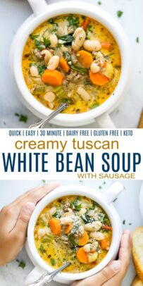 pinterest image for epic creamy tuscan white bean soup