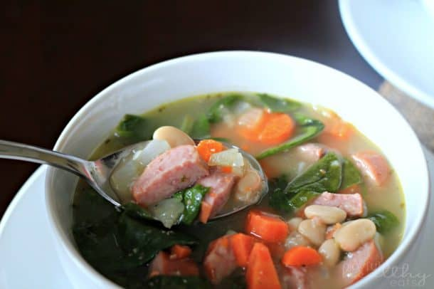 White Bean Soup with Sausage & Spinach 1
