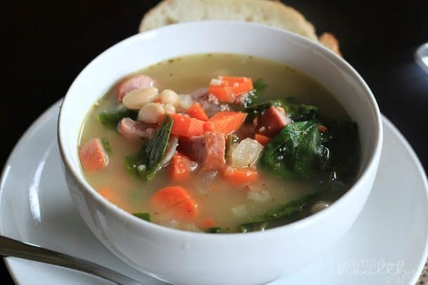 White Bean Soup with Sausage & Spinach #soup #spinach #whitebeans #homemade