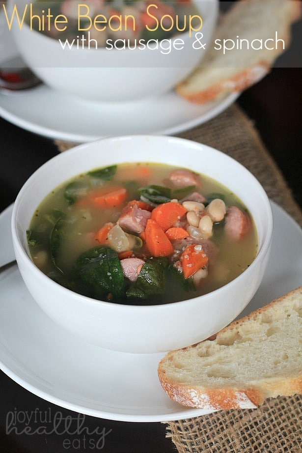 White Bean Soup with Sausage & Spinach #soup #whitebean #spinach