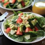 Avocado Strawberry Spinach Salad with Honey Mustard Vinaigrette