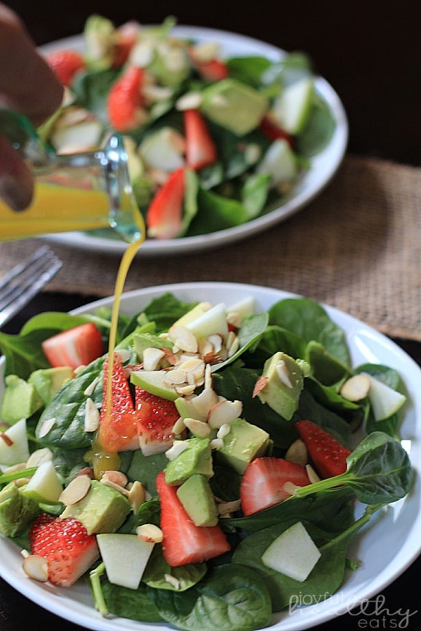 Strawberry Avocado Spinach Salad with Honey Mustard Vinaigrette