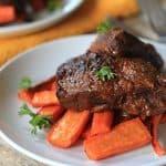 Tender Juicy Balsamic Braised Beef Short Ribs in a Crock Pot {Paleo Recipe}
