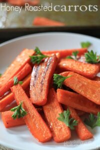A plate of sweet honey roasted carrots