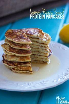 A stack of Lemon Poppyseed Protein Pancakes on a plate