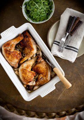 40 Garlic Clove Chicken in a baking dish