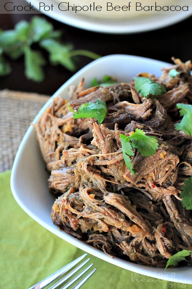 Crock Pot Chipotle Beef Barbacoa #crockpot #beef #shredded #slowcooker #texmex
