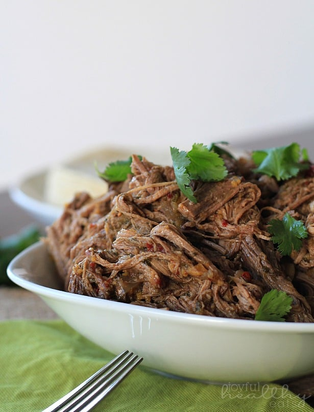 Side view of shredded Chipotle Beef Barbacoa in a shallow serving bowl