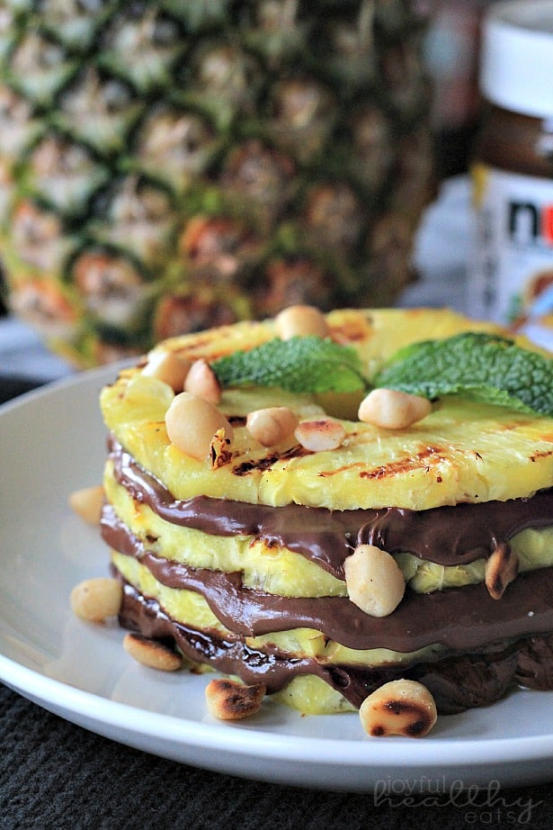 Grilled Pineapple with Nutella & Macadamia Nuts #dessert #healthy #grilled #pineapple #nutella