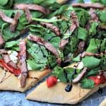Homemade Pizza with Steak, Arugula & Balsamic Reduction