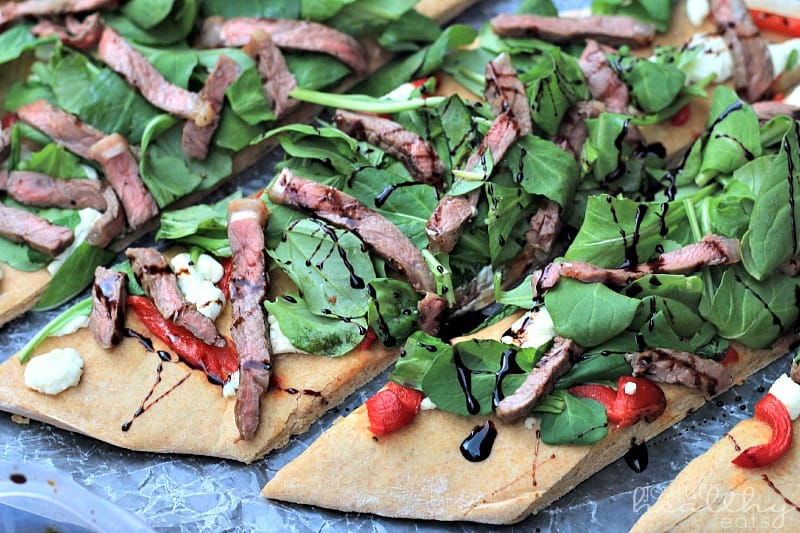 Homemade Pizza with Steak & a Balsamic Reduction #pizza #steak #balsamicreduction #goatcheese #light #healthy