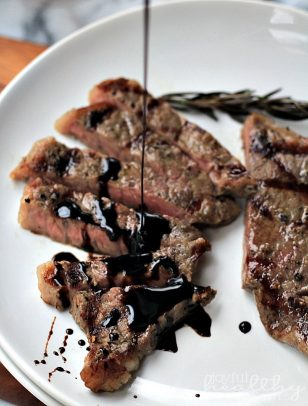 New York Strip Steak with Balsamic Reduction #steak #dinner #valentinesday #paleo #glutenfree