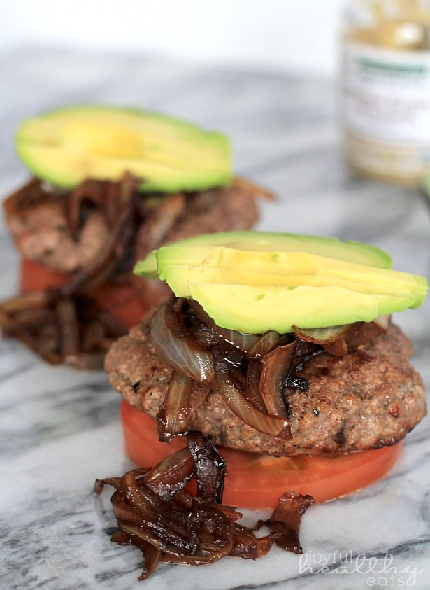Paleo Burgers with Caramelized Balsamic Onions & Avocado #paleo #glutenfree #burgers #groundbeef #balsamicvinegar #healthyrecipes