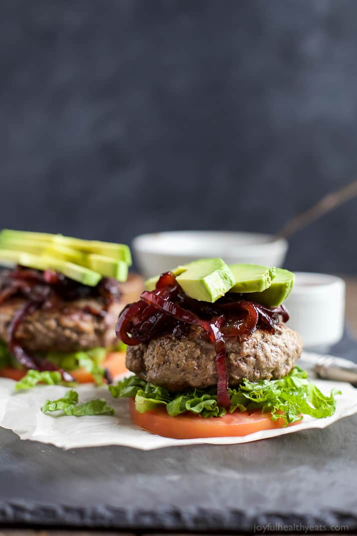 Image of Two Paleo Burgers with Balsamic Onions & Avocado