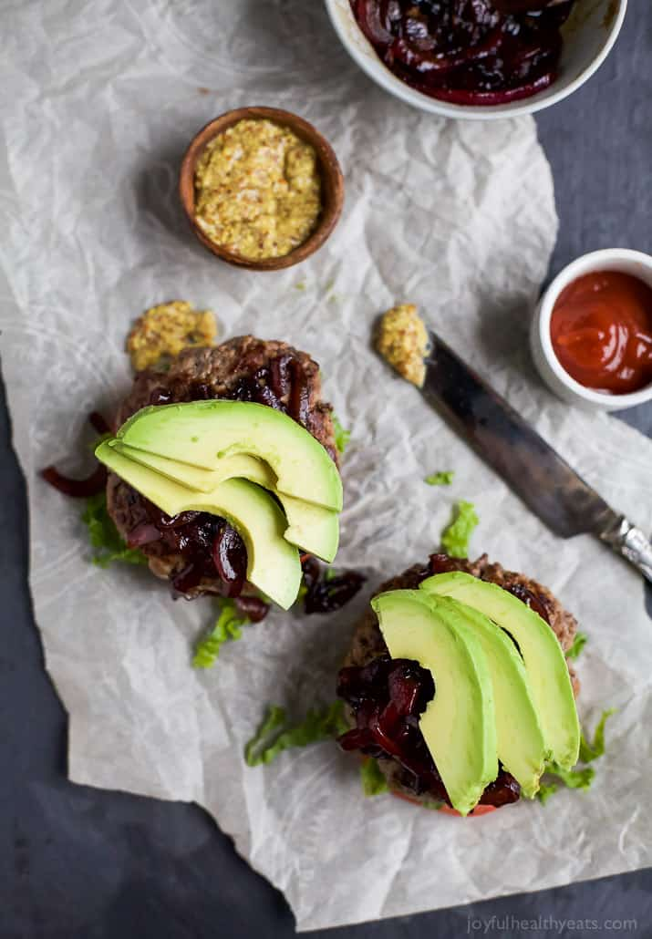 Image of Paleo Burgers with Caramelized Balsamic Onions From Above