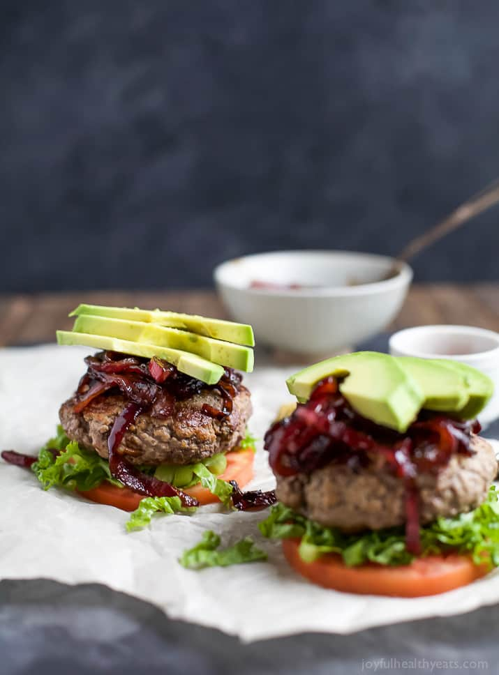 Image of Two Paleo Burgers with Caramelized Balsamic Onions