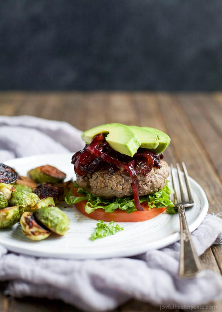 Image of a Paleo Burger on a Plate with a Fork