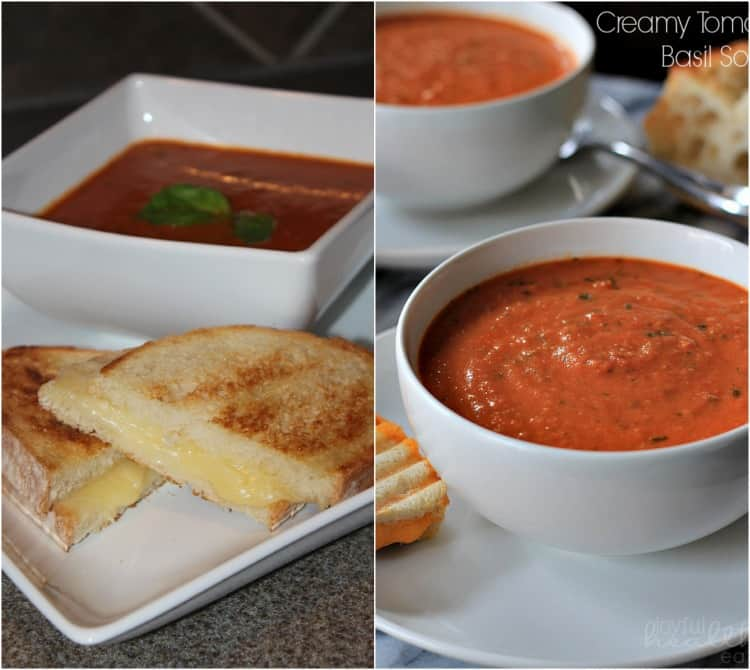 Side-by-side comparison of two versions of tomato soup with grilled cheese