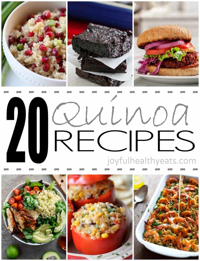 Collage for 20 Quinoa Recipes with six examples