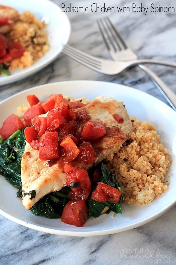 An Easy Chicken Recipe that comes together in less than 30 minutes with an amazing Sweet Balsamic Tomato sauce served with fresh sautéed spinach.