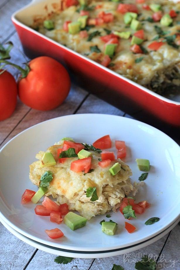 Chicken Suizas Enchilada Casserole #CincodeMayo #Chicken #TexMex #Enchiladas #GlutenFree