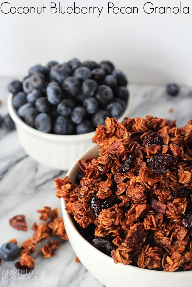 Coconut Blueberry Pecan Granola in a bowl next to a ramekin of fresh blueberries