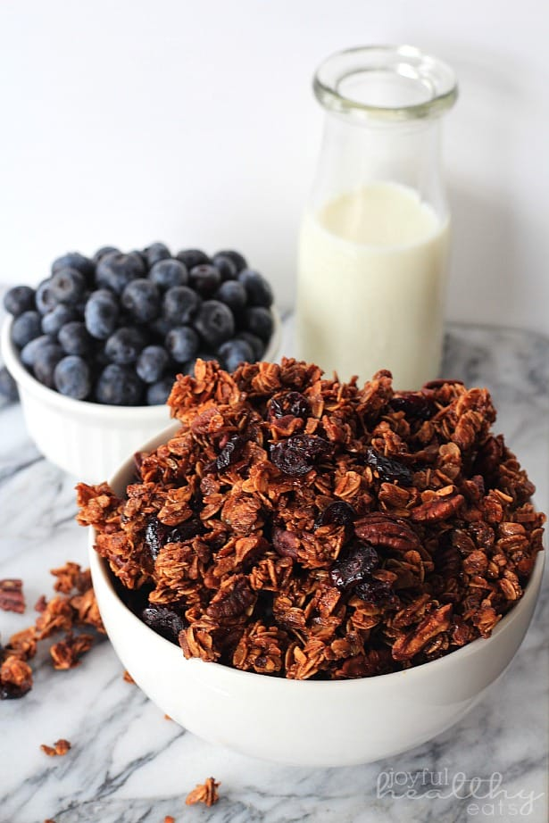 A bowl of Coconut Blueberry Pecan Granola next to a glass of milk and a bowl of blueberries