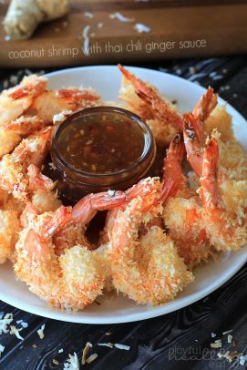 A Plate full of Thai Ginger Sauce and a Circle of Coconut Shrimp