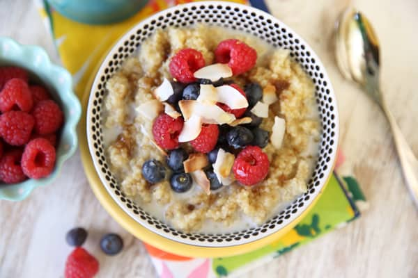 Coconut-and-Berries-on-top-of-sweet-breakfast-quinoa