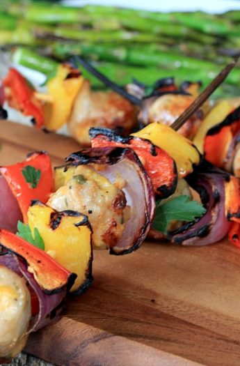 Image of Chicken, Sausage, Pepper & Onion Kabobs