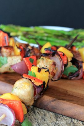 Image of a Grilled Chicken, Sausage, Pepper & Onion Kabob