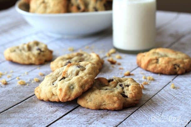 The Best Soft Chocolate Chip Cookies will you ever have! Half the butter and sugar, but same same great cookie taste! These are to die for!   joyfulhealthyeats.com