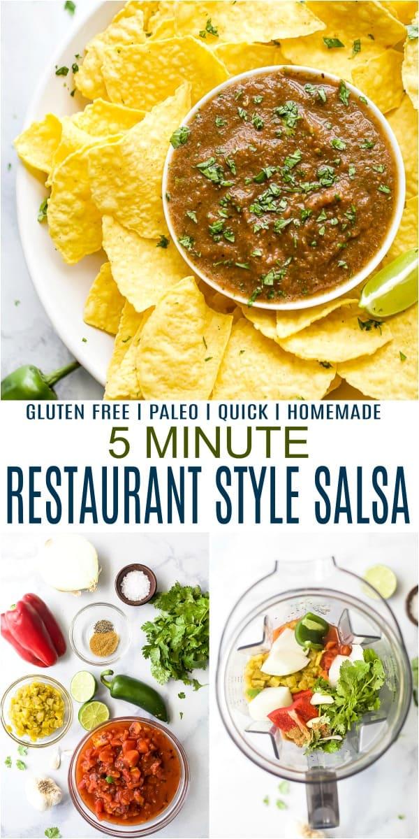 pinterest image for 5 minute homemade restaurant style salsa