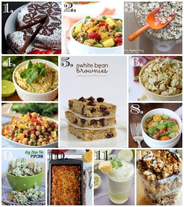 A collage of 12 different recipes including desserts, snacks, beverages, and main dishes