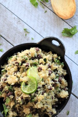 Cilantro Lime Quinoa with Black Beans in a skillet